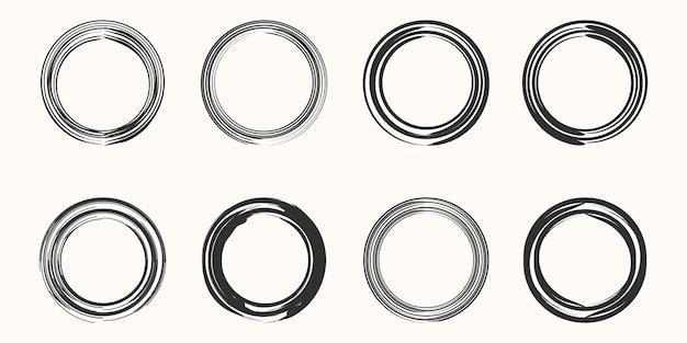 コーヒーステインリングベクトル形状のセット-サークルスタンプ-丸いブラシストローク-アイコン、ロゴデザイン。