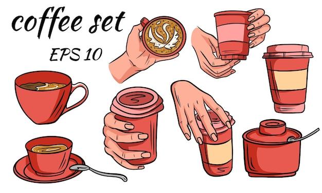 Набор кофе. кофе на вынос в руке и в кружке. стекло на вынос. сахарница. мультяшный стиль.