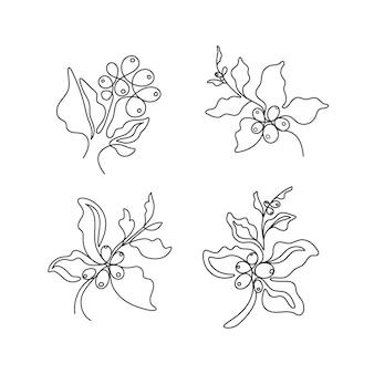 커피 나무 가지 세트 잎 천연 콩의 블랙 아트 스케치 단순히 실루엣