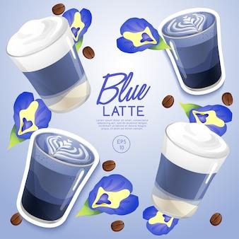 커피 종류 : blue latte : 일러스트