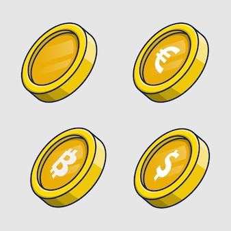 Набор монет значок иллюстрации