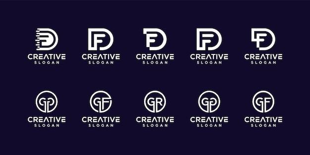 Набор букв вензеля дизайн логотипа