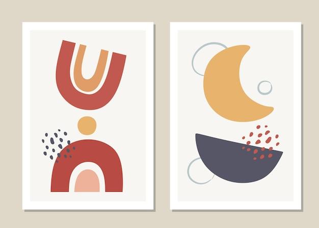 抽象的な幾何学的形状とコラージュのセット