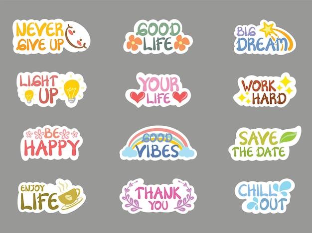 Набор коллекции милые позитивные цитаты стиль наклейки и иллюстрации