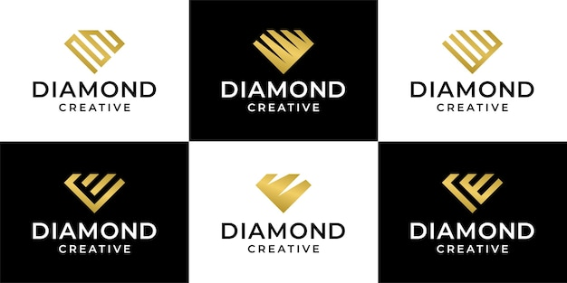コレクションダイヤモンド宝石ロゴバンドルテンプレートデザインのセット