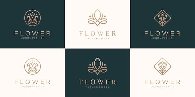 コレクションフラワーローズ高級ロゴデザインのセット