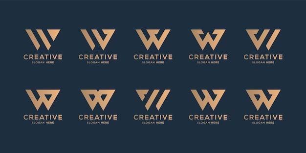 컬렉션 황금 이니셜 w 로고 디자인 서식 파일 세트
