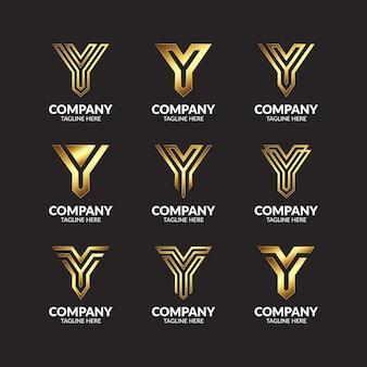 컬렉션 골든 모노그램 문자 y 로고 디자인의 세트