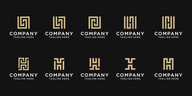 컬렉션 초기 편지 h 로고 템플릿 집합입니다.