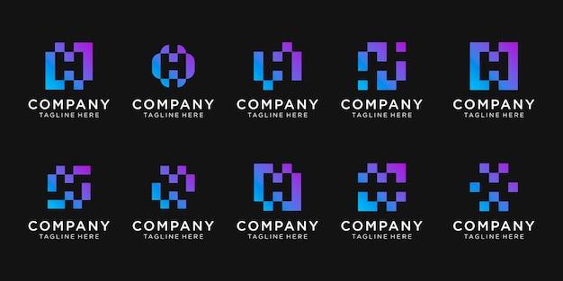 픽셀 개념 컬렉션 초기 편지 h 로고의 집합입니다.