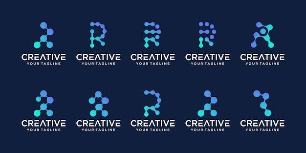コレクションの頭文字rロゴテンプレートのセット。