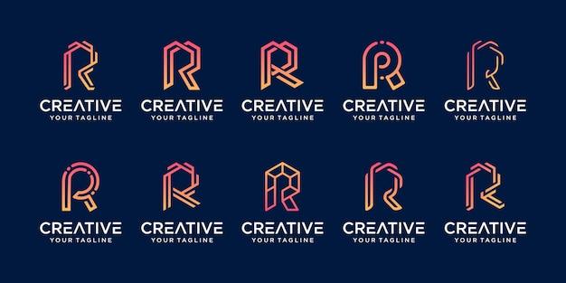 コレクションの頭文字rrrロゴテンプレートのセット。