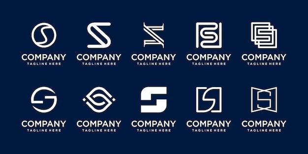 컬렉션 초기 문자 s ss 로고 템플릿 집합입니다. 패션, 스포츠, 빌드 비즈니스를 위한 아이콘입니다.