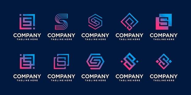 패션 스포츠 디지털 비즈니스를 위한 컬렉션 초기 문자 s ss 로고 템플릿 아이콘 세트