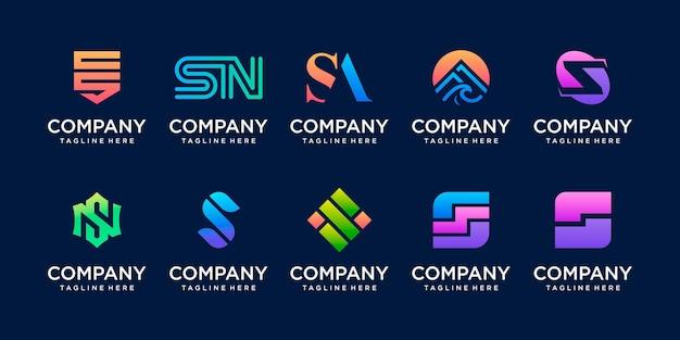 ファッションスポーツデジタルのビジネスのためのコレクションの頭文字sssロゴテンプレートアイコンのセット