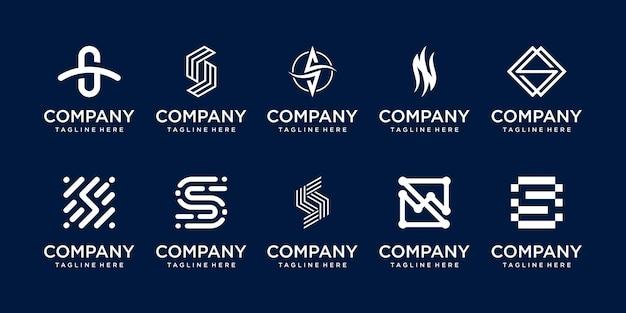 패션 스포츠 비즈니스를 위한 컬렉션 초기 문자 s ss 로고 템플릿 아이콘 세트