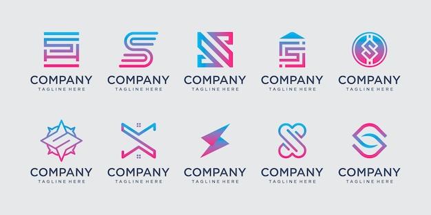 패션 기술 비즈니스를 위한 컬렉션 초기 문자 s ss 로고 템플릿 아이콘 세트