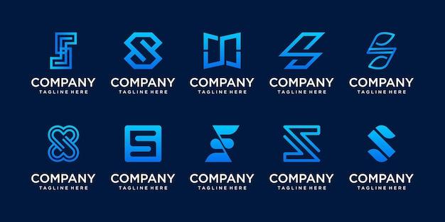 컬렉션 초기 편지 s ss 로고 템플릿 집합입니다.