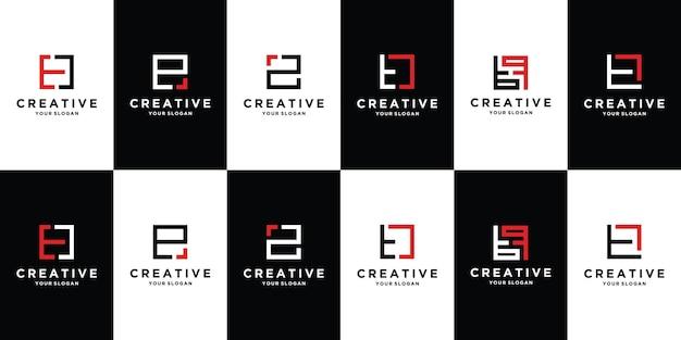 컬렉션 초기 편지 te 로고 템플릿 세트 premium vector