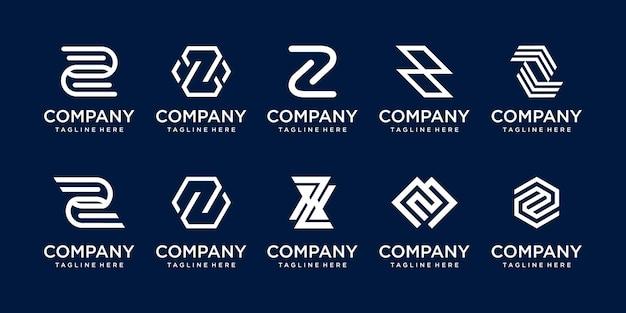 コレクションの頭文字zロゴテンプレートのセット。