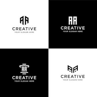 컬렉션 이니셜 aa 로고 디자인 서식 파일 집합