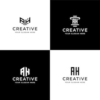 コレクションのイニシャルのセットahロゴデザインテンプレート