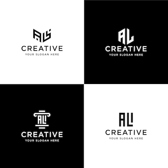 Набор коллекционных инициалов al шаблон дизайна логотипа