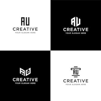 컬렉션 이니셜 au 로고 디자인 템플릿 세트