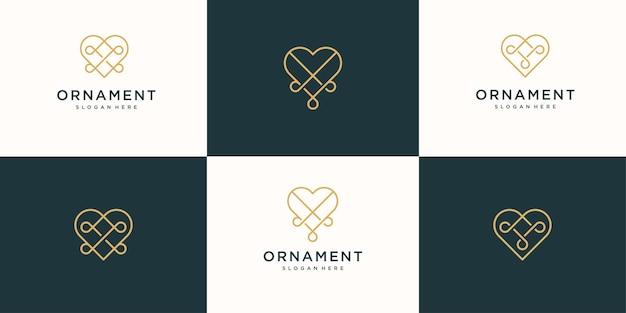 컬렉션 럭셔리 사랑 로고 디자인의 세트