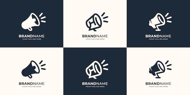 컬렉션 확성기 로고 디자인 핸드 스피커 휴대용 로고 라인 아트 스타일 평면 디자인 기호 시끄러운 템플릿 프리미엄 벡터의 집합