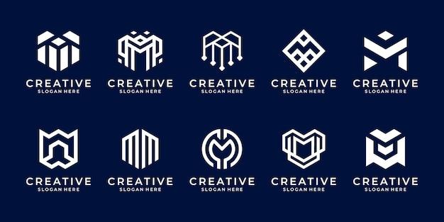 Набор шаблонов логотипа буква m коллекции вензеля.