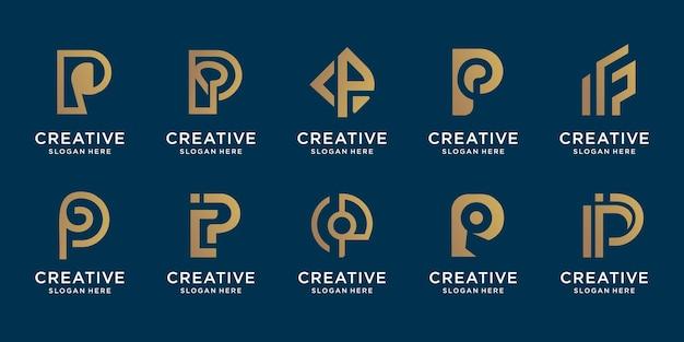 Набор коллекции вензеля буква p логотип premium векторы