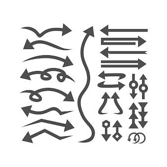 矢印デザインテンプレートのコレクションのセット