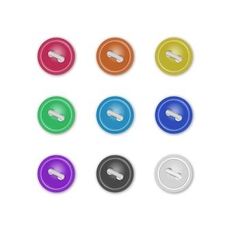 Набор коллекции пуговиц для одежды, реалистичные пуговицы различных ярких цветов. мода и рукоделие. иллюстрация