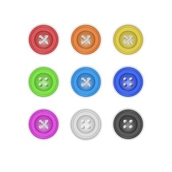 洋服用ボタンのコレクション、さまざまな明るい色のリアルなボタンのセット。ファッションと裁縫。図