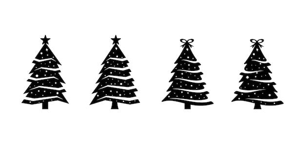 컬렉션 실루엣 트리 크리스마스 번들 로고 아이콘 세트