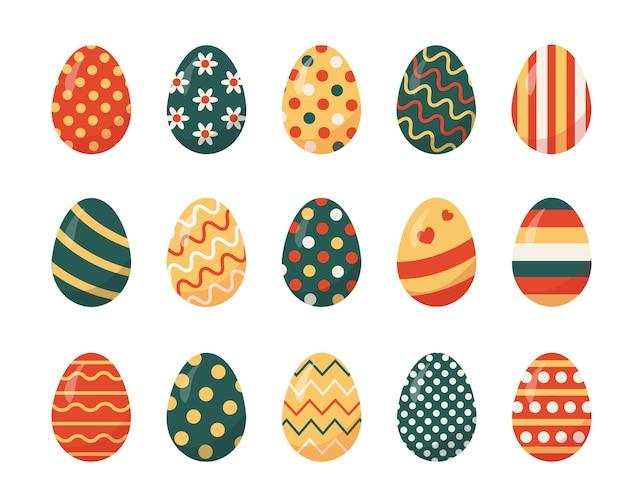 白い背景の上の色のイースターの卵のセットです。イースターの伝統的なシンボル。