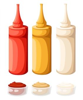 色のファーストフードのプラスチックボトルのセット。ケチャップ、マヨ、マスタード。白のイラスト。