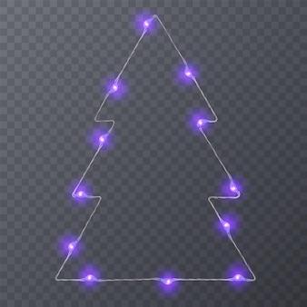 Набор цветных гирлянд праздничных украшений светящийся рождественский свет, изолированные на прозрачном фоне