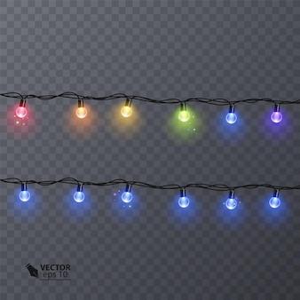 색상 화환, 축제 장식 세트. 고립 된 빛나는 크리스마스 조명.