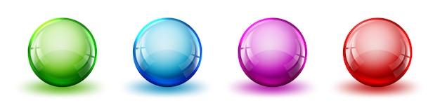 色の光沢のあるボールのセット。分離されたベクトル明るいボール