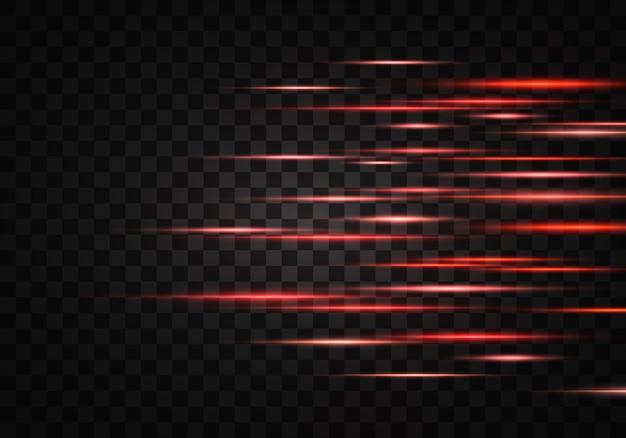 色の水平光線、レンズ、線のセット。レーザービーム。透明な背景に並ぶオレンジ、赤の明るい抽象的な輝く。光フレア、効果。