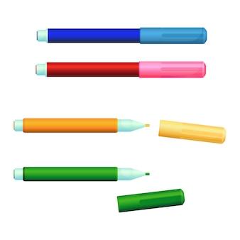 カバー付きカラーマーカーファインライナーフェルトペンのセット。フェルトなどの多孔質のプレス繊維で作られた独自のインク源と先端を備えたフロースケッチペン、