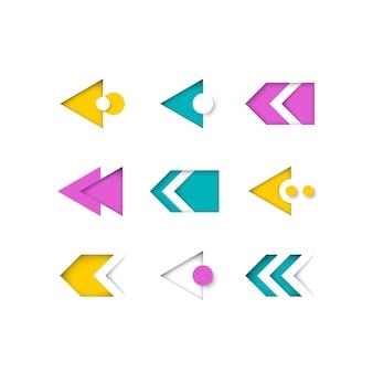 색상 현대 화살표 및 포인터 집합