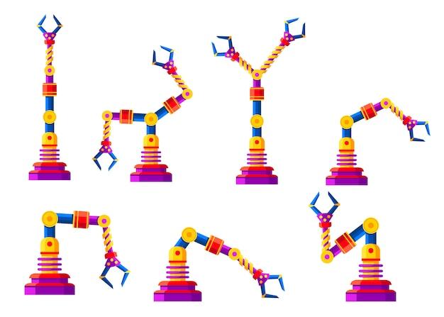 色のロボットアーム、手のセットです。ロボットアイコンのコレクション。産業技術と工場のシンボル。白い背景の上の図