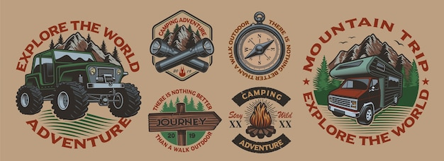 白い背景の上のキャンプのテーマの色のビンテージバッジのセットです。ポスター、アパレル、tシャツのデザインなどに最適です。レイヤード