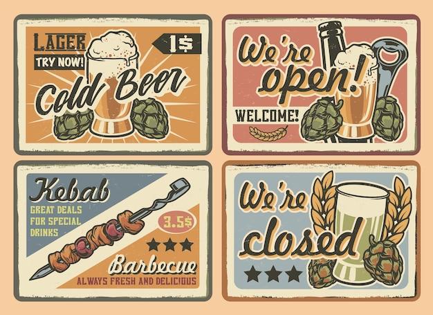 Набор цветных старинных кафе знаков на светлом фоне. все текстовые элементы находятся в отдельных группах.