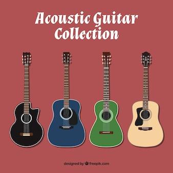 Набор цветных акустических гитар