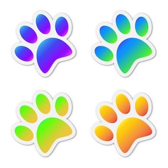착 색 된 동물 발자국의 집합입니다.