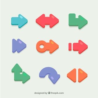 평면 디자인에 색된 화살표의 집합